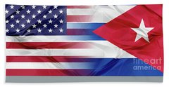 Cuba And Usa Flags Beach Sheet