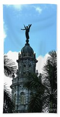 Cuba Rooftop W Protection Statue Beach Towel