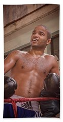 Beach Towel featuring the photograph Cuban Boxer Ready For Sparring by Joan Carroll