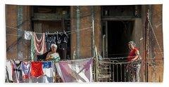 Cuban Women Hanging Laundry In Havana Cuba Beach Towel by Charles Harden