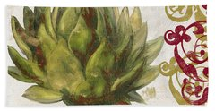 Cucina Italiana Artichoke Beach Towel by Mindy Sommers