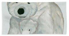 Cuddly Polar Bear Watercolor Beach Towel