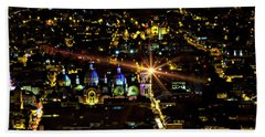 Beach Towel featuring the photograph Cuenca's Historic District At Night by Al Bourassa