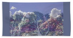 Beach Towel featuring the photograph Cumulus And Trees by Nareeta Martin