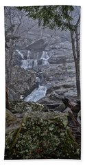 Beach Towel featuring the photograph Cunningham Falls In The Rain And Fog by Mark Dodd