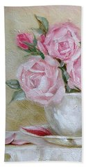 Cup And Saucer Roses Beach Towel by Chris Hobel