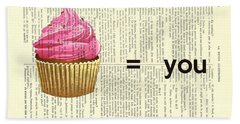 Pink Cupcake Equals You Print On Dictionary Paper Beach Towel