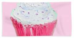 Cupcake Painting On Pink Background Beach Towel