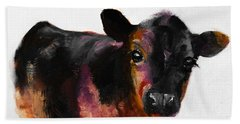 Buster The Calf Painting Beach Sheet by Michele Carter