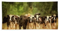 Beach Sheet featuring the digital art Curious Cows by Lois Bryan