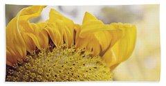 Curling Petals On Sunflower Beach Towel
