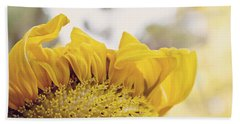 Curling Petals On Sunflower Beach Towel