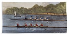 Currier & Ives: Rowing Contest Beach Towel