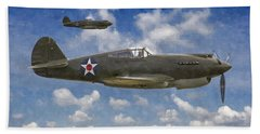Beach Sheet featuring the digital art Curtis P-40 Warhawks by Kai Saarto