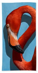 Curves, A Head - A Flamingo Portrait Beach Towel