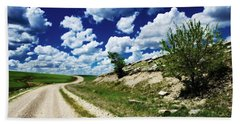 Curving Gravel Road Beach Towel