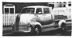 Beach Towel featuring the photograph Custom Chevy Asbury Park Nj Black And White by Terry DeLuco