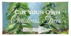 Cut Your Own Tree- Art By Linda Woods Beach Towel