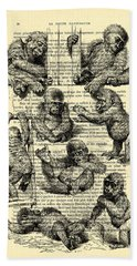 Baby Monkeys Playing Black And White Antique Illustration Beach Towel
