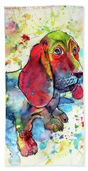 Beach Sheet featuring the painting Cute Basset Hound by Kovacs Anna Brigitta