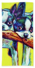 Cute Boston Terriers Beach Sheet