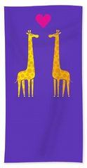 Cute Cartoon Giraffe Couple In Love Purple Edition Beach Towel by Philipp Rietz