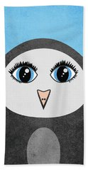 Cute Geometric Penguin Beach Towel
