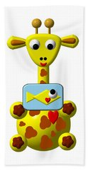 Cute Giraffe With Goldfish Beach Towel