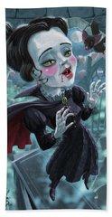 Cute Gothic Horror Vampire Woman Beach Towel by Martin Davey