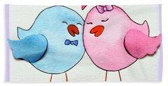 Cute Lovebirds Watercolour Beach Towel