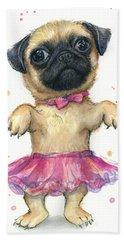 Cute Pug Puppy Beach Towel