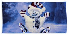 Cute Snowman In Ice Skates Beach Towel