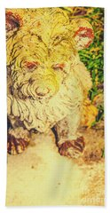 Cute Weathered White Garden Ornament Of A Dog Beach Towel