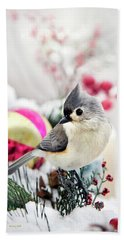 Cute Winter Bird - Tufted Titmouse Beach Towel