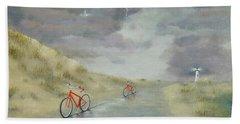 Cycling On Ocracoke Island Beach Towel