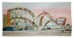 Cyclone Rollercoaster Coney Island, Ny Towel Version Beach Towel