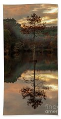 Cypress At Sunset Beach Towel