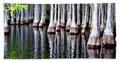 Beach Towel featuring the photograph Cypress Tree Reflection by Tara Potts