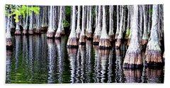 Cypress Tree Reflection Beach Sheet