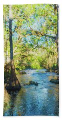 Cypress Trees On The River Beach Towel