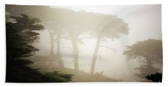 Cyprus Tree Grove In Fog Beach Towel