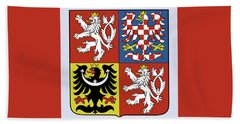 Beach Towel featuring the drawing Czech Republic Coat Of Arms by Movie Poster Prints