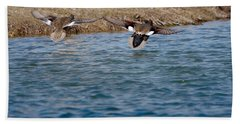 Gadwall Ducks - In Flight Side By Side Beach Towel