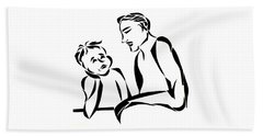 Dad And Son Beach Towel