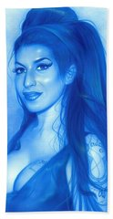 Amy Winehouse - ' Daddy's Girl ' Beach Towel by Christian Chapman Art