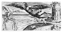 Daedalus Escaping From Crete With His Son, Icarus, Sees Him Falling To His Death Beach Towel