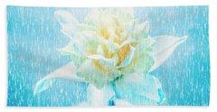 Daffodil Flower In Rain. Digital Art Beach Towel
