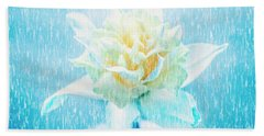 Daffodil Flower In Rain. Digital Art Beach Towel