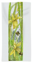 Daffodils And Bees Beach Towel