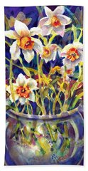 Daffodils And Lace Beach Towel